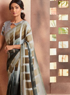 Silk Casual Saree in Grey