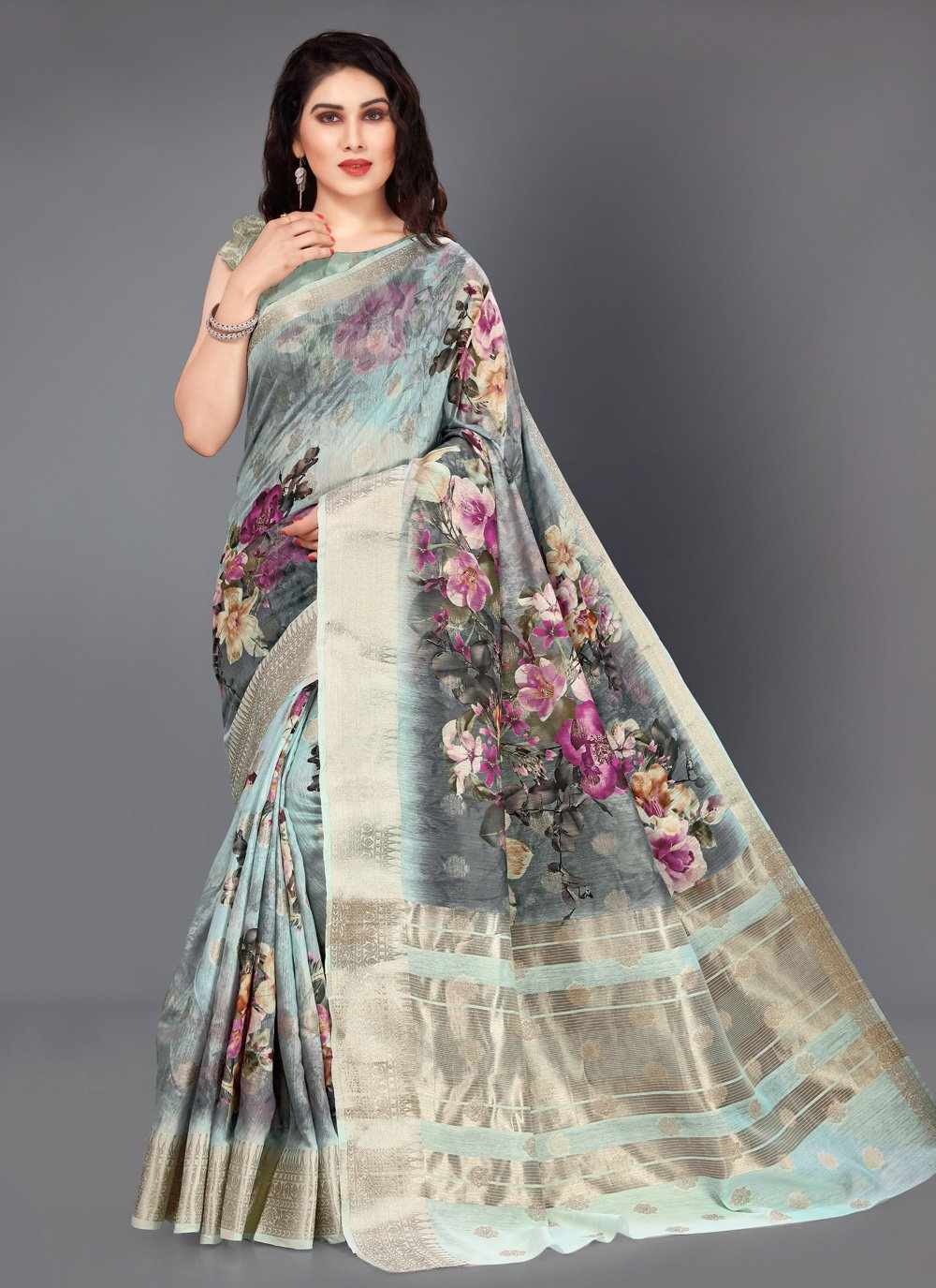 Silk Casual Saree in Multi Colour