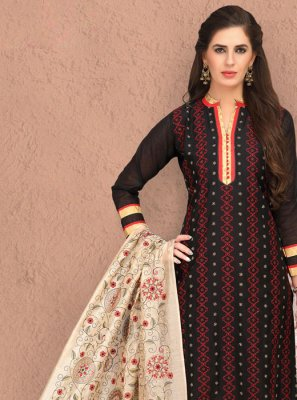 Silk Churidar Salwar Suit in Black