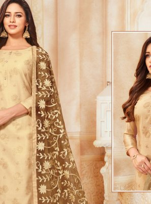 Silk Churidar Suit in Beige