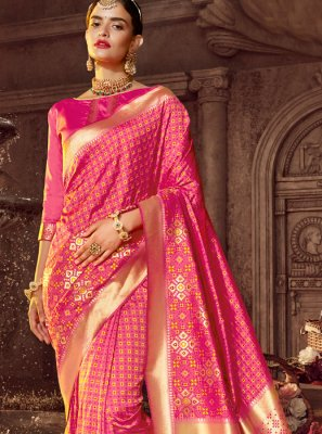 Silk Classic Designer Saree in Hot Pink
