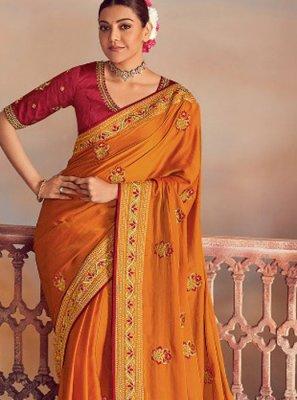 Silk Classic Designer Saree in Mustard