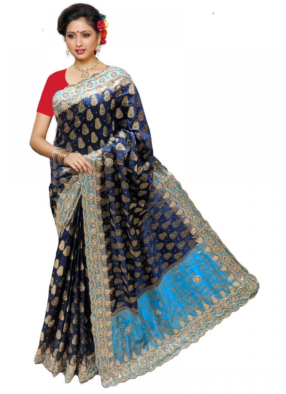 Silk Classic Designer Saree in Navy Blue