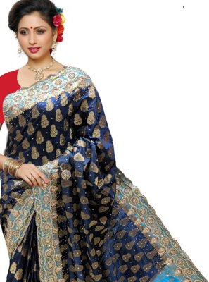 Silk Classic Designer Saree in Navy Blue