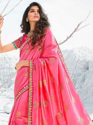 Silk Classic Designer Saree in Pink