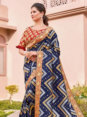 Silk Classic Saree in Blue