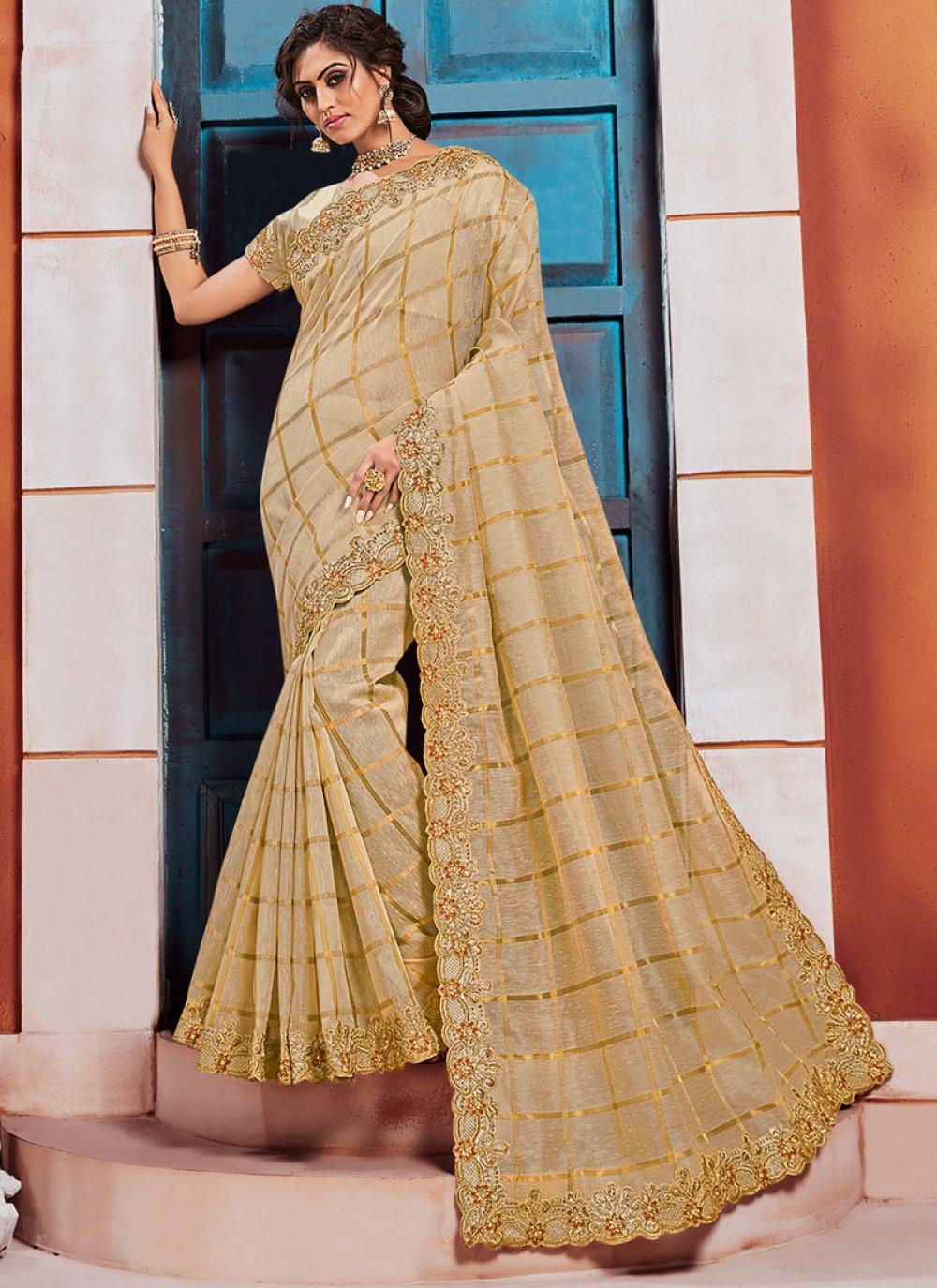 Silk Classic Saree in Gold