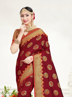 Silk Classic Saree in Maroon