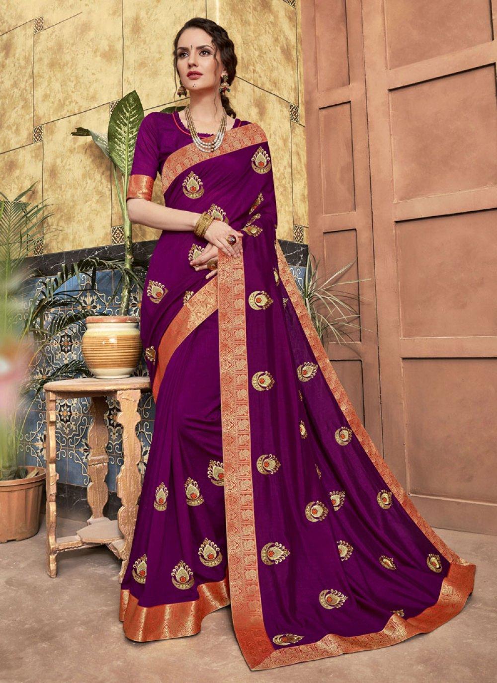Silk Classic Saree in Purple