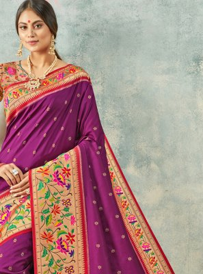 Silk Classic Saree in Purple