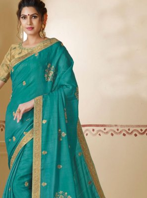 Silk Classic Saree in Teal