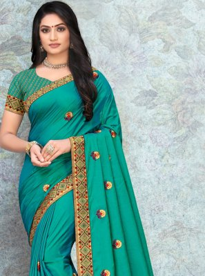 Silk Classic Saree in Turquoise