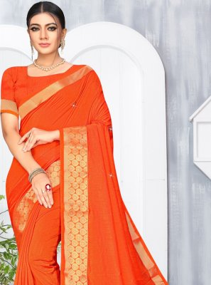 Silk Contemporary Saree in Orange