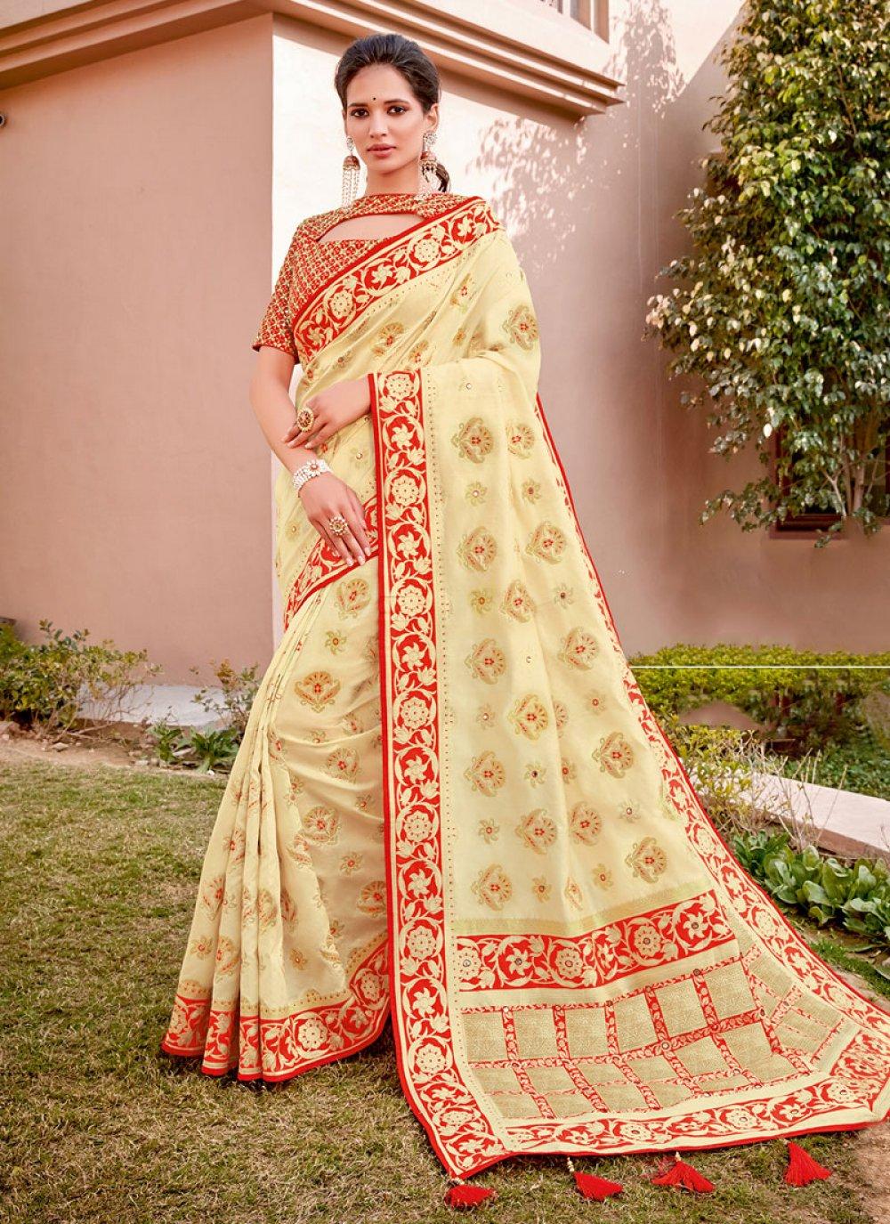 Silk Cream Classic Designer Saree
