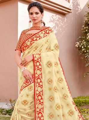 Silk Cream Classic Designer Saree