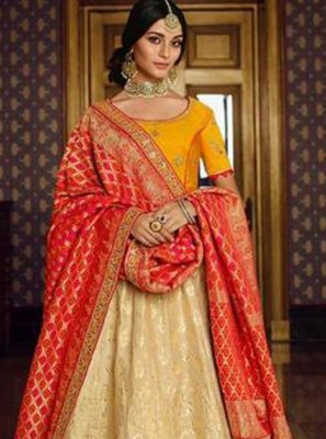 Silk Cream Embroidered Lehenga Choli