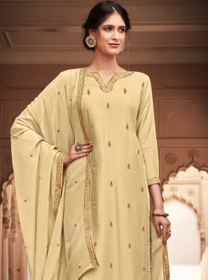 Silk Cream Embroidered Salwar Kameez