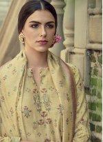 Silk Cream Embroidered Straight Salwar Kameez
