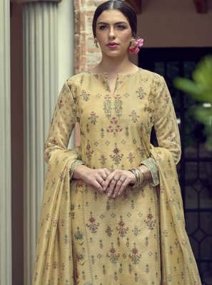 Silk Cream Embroidered Straight Salwar Kameez