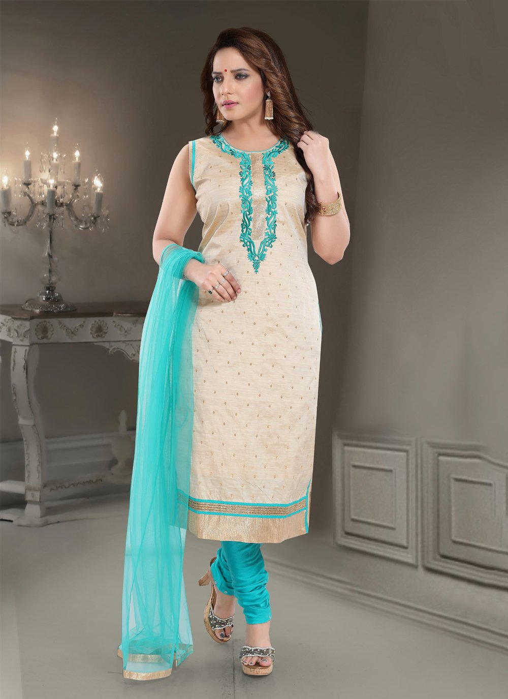 Silk Cream Embroidered Trendy Straight Salwar Kameez