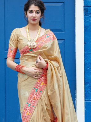 Silk Cream Weaving Saree