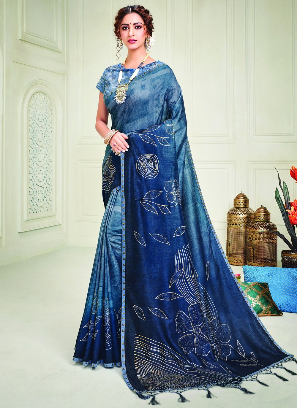 Silk Crystal Contemporary Style Saree in Blue