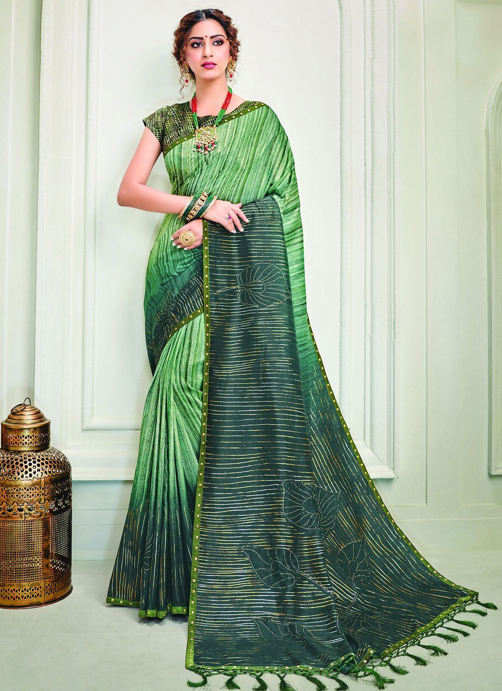 Silk Crystal Sea Green Designer Contemporary Saree