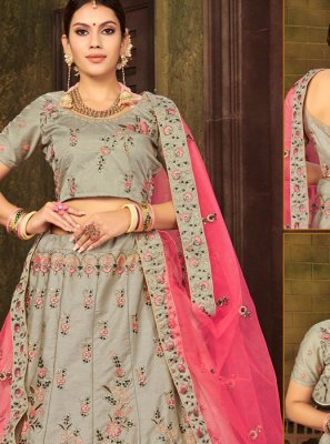 Silk Designer Lehenga Choli in Grey