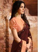 Silk Designer Saree in Maroon
