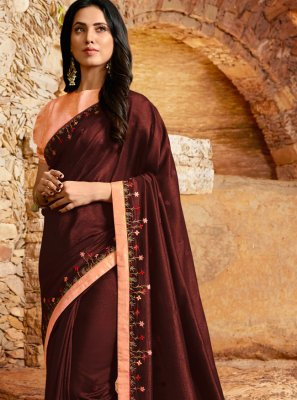 Silk Designer Saree in Maroon
