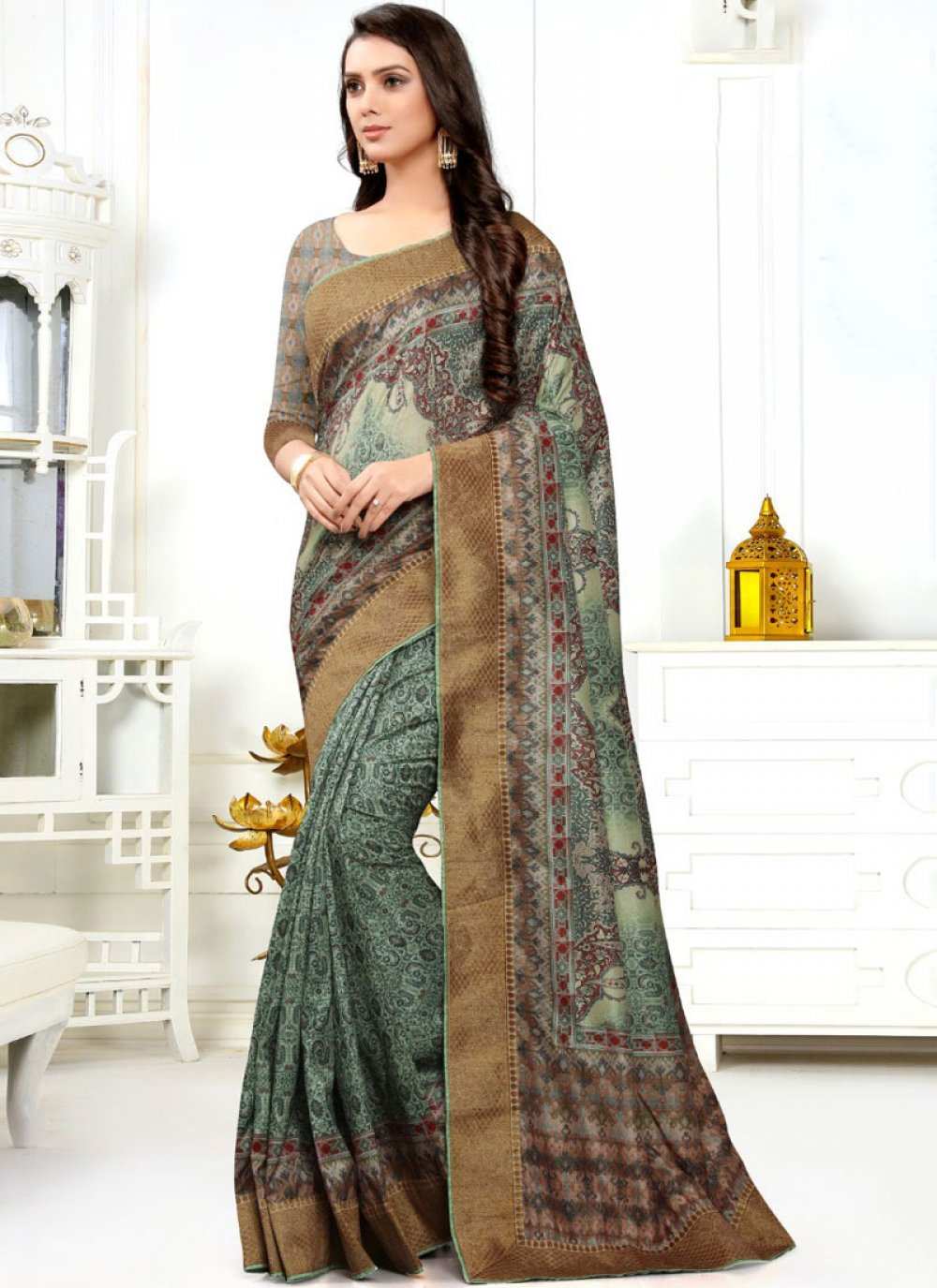 Silk Designer Saree in Multi Colour