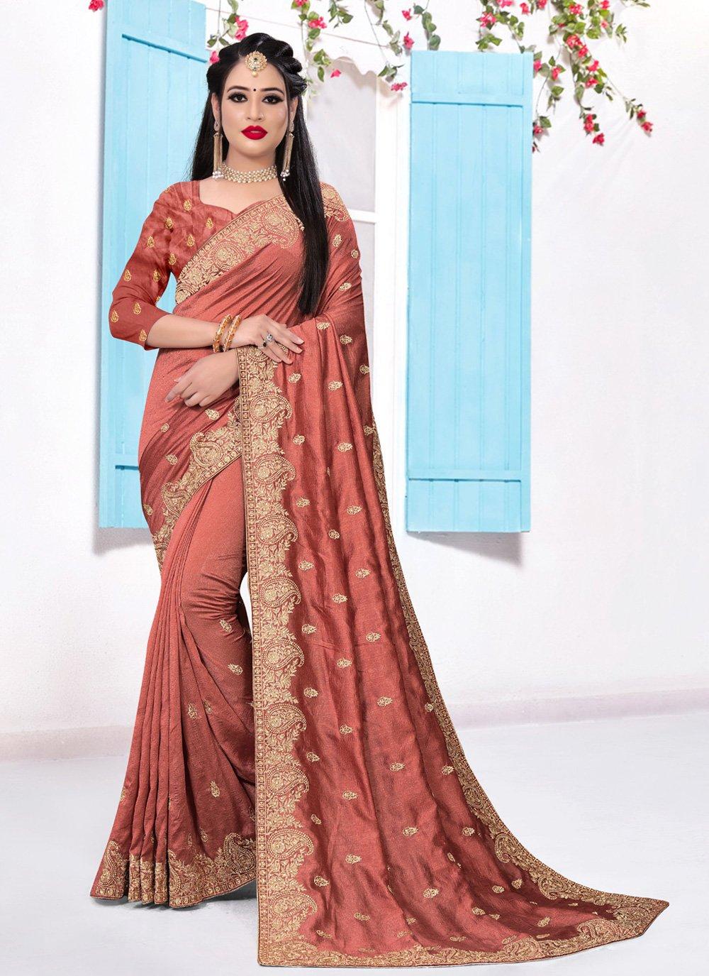 Silk Designer Saree in Orange