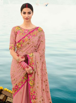 Silk Designer Saree in Pink