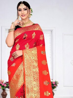 Silk Designer Saree in Red