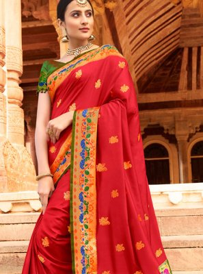Silk Designer Traditional Saree in Red