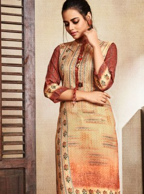 Silk Digital Print Casual Kurti in Cream