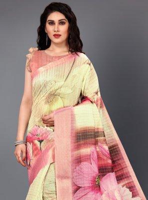 Silk Digital Print Casual Saree in Multi Colour