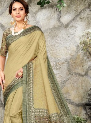 Silk Digital Print Classic Saree in Green