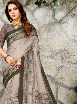 Silk Digital Print Classic Saree in Grey