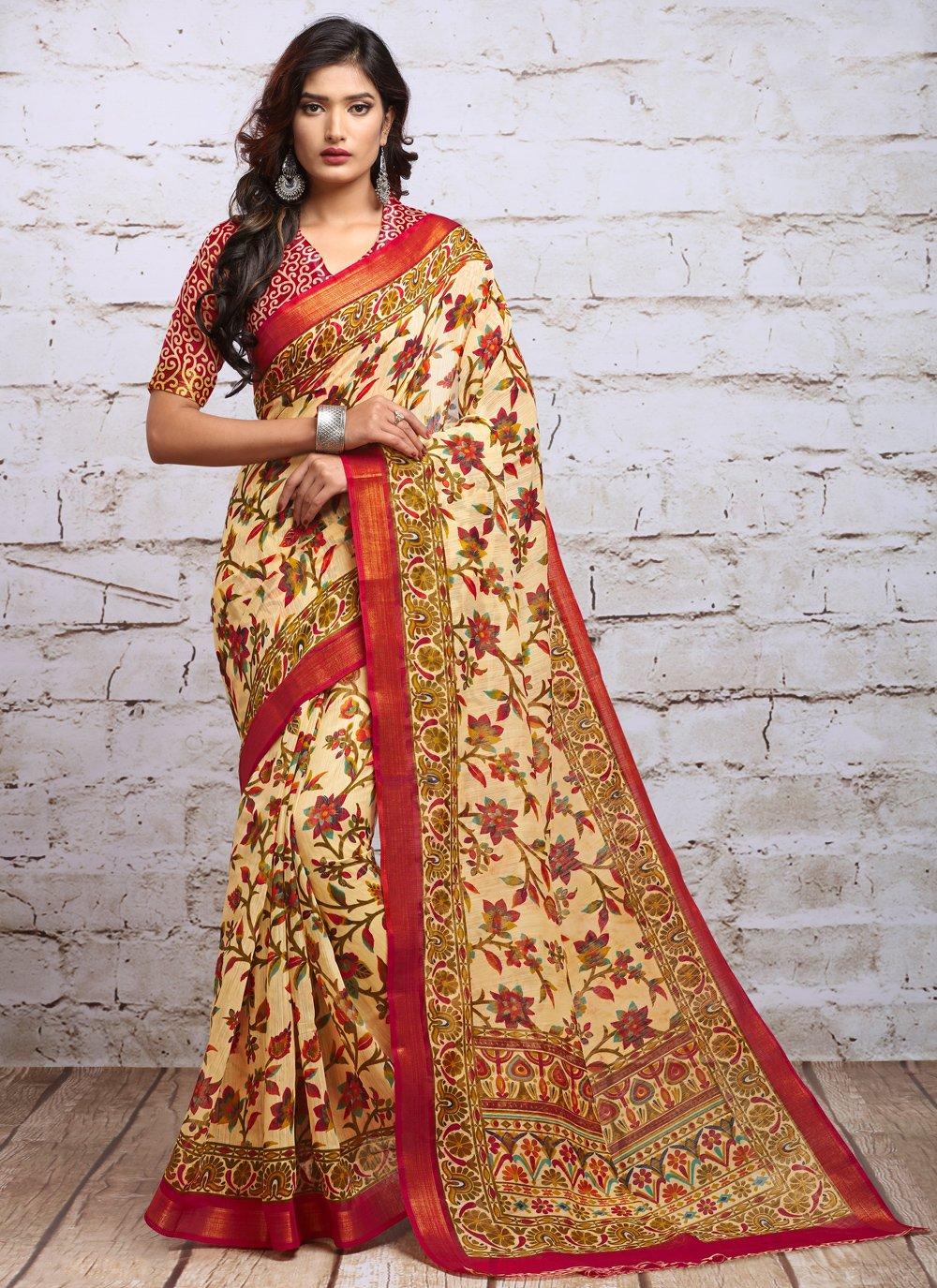 Silk Digital Print Cream Classic Saree