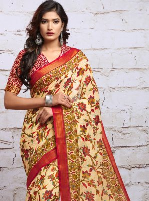 Silk Digital Print Cream Classic Saree