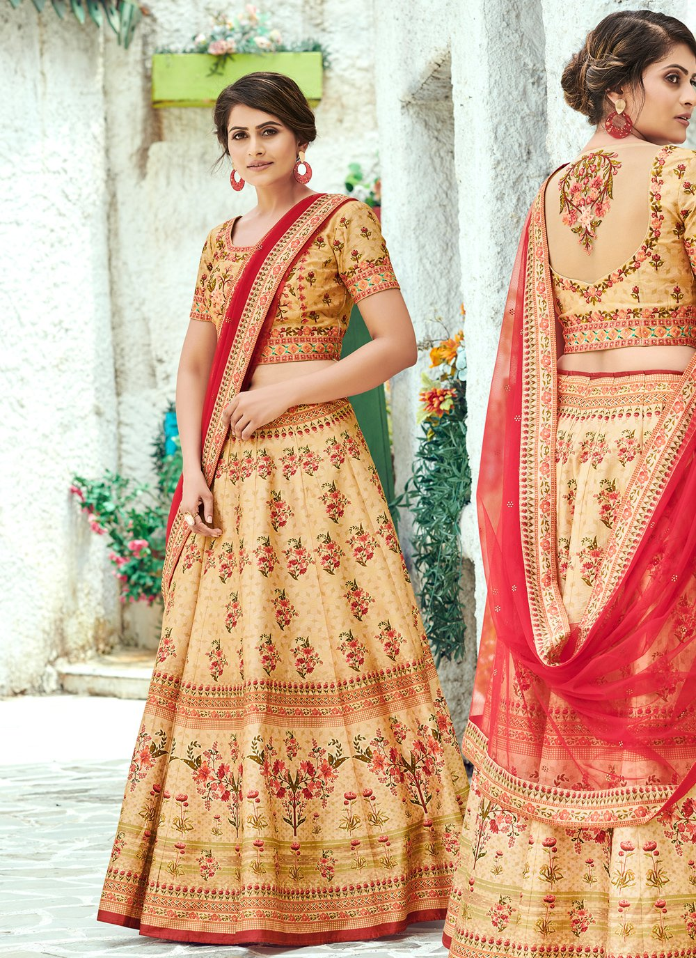 Silk Digital Print Cream Designer Lehenga Choli