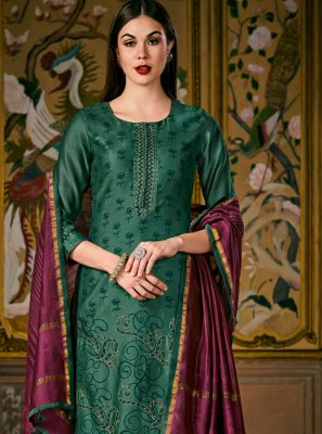 Silk Digital Print Green Designer Salwar Suit