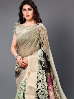 Silk Digital Print Multi Colour Casual Saree