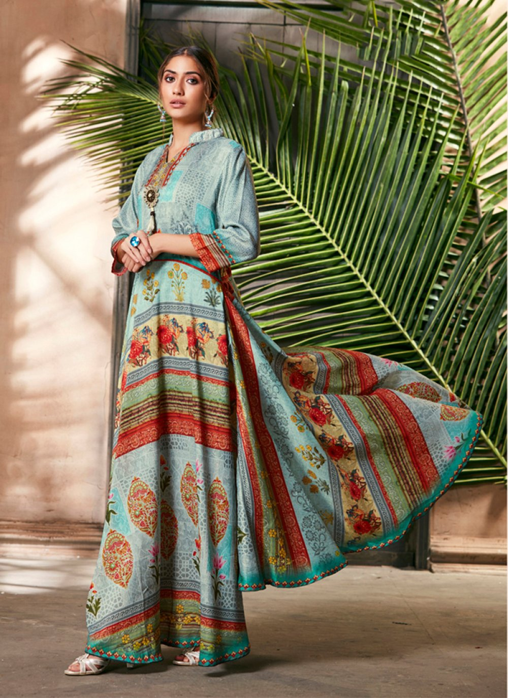 Silk Digital Print Trendy Gown