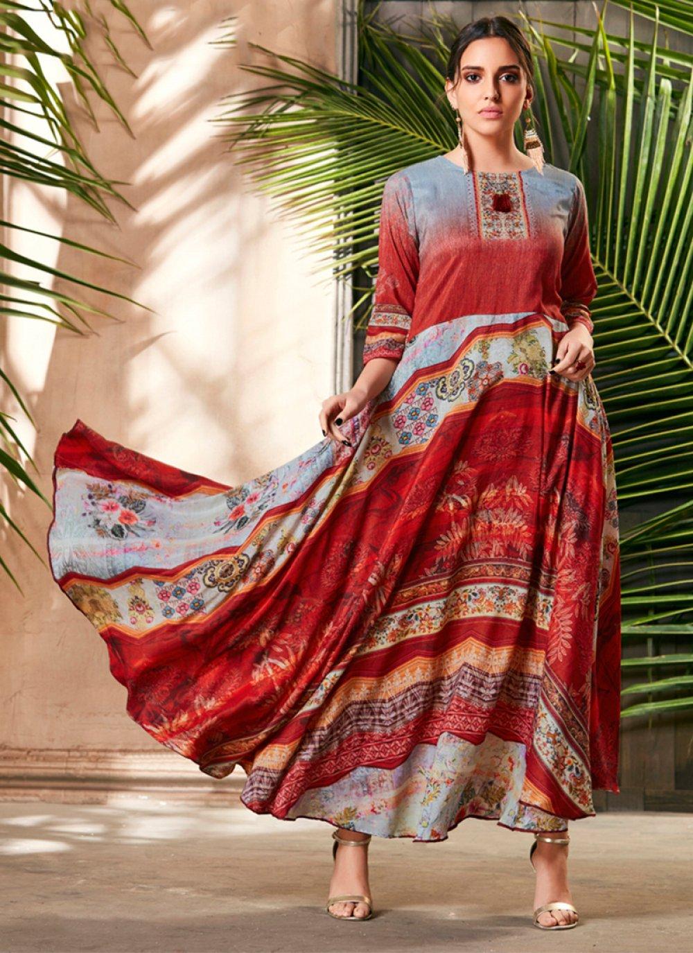 Silk Digital Print Trendy Gown in Multi Colour