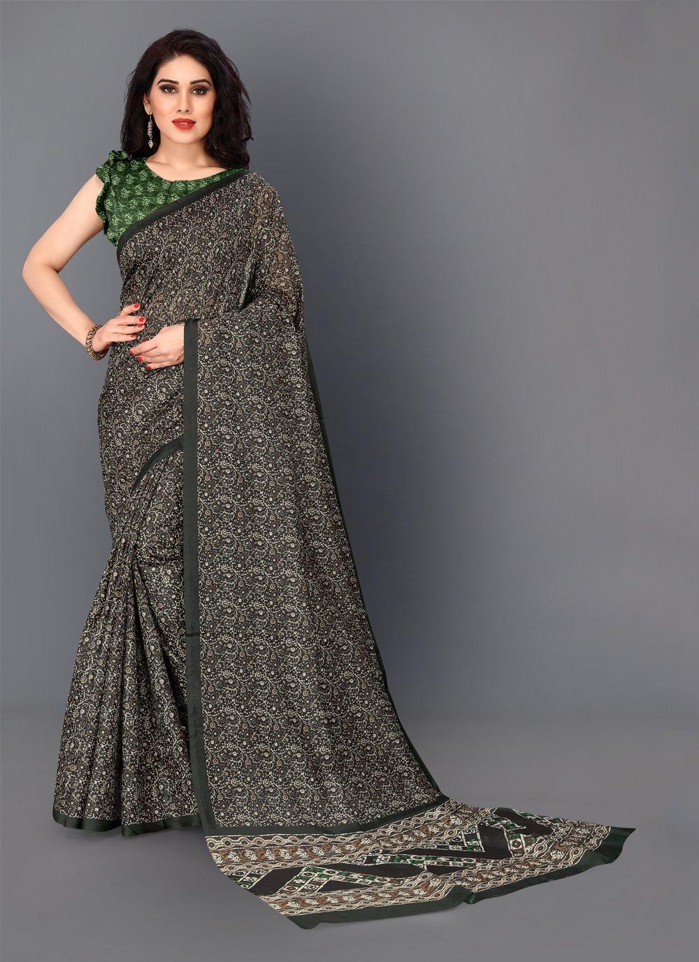 Silk Digital Print Trendy Saree in Green