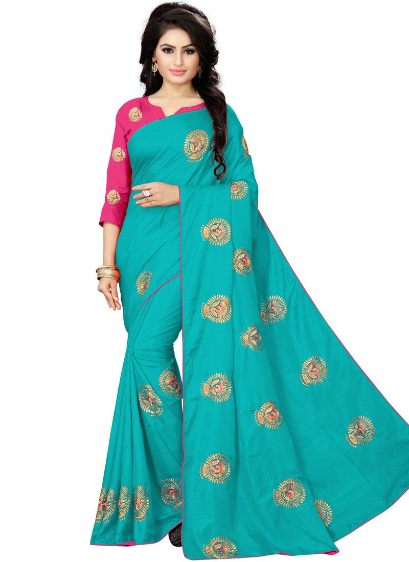 Silk Embroidered Aqua Blue Trendy Saree