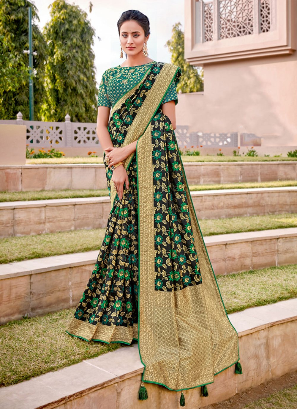 Silk Embroidered Black and Green Half N Half  Saree
