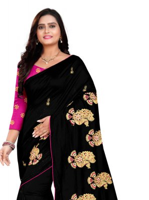 Silk Embroidered Black Classic Saree